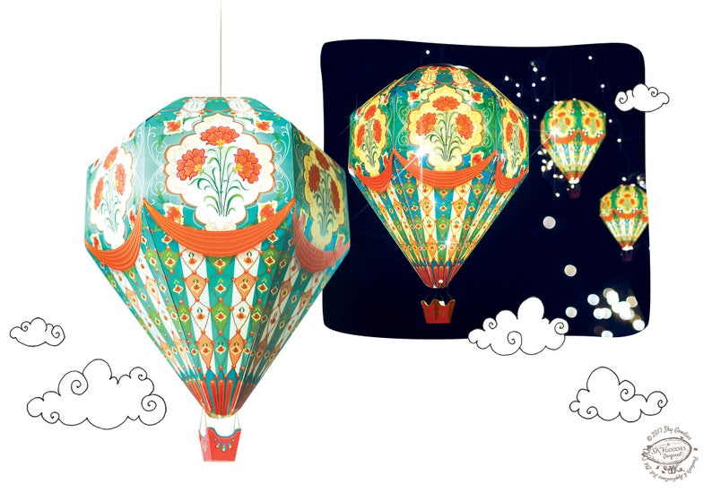 Small Diy Paper Hot Air Balloon Lamp Shade Red Physical Pre Cut Diy Kit Vintage Magical Cute Kids Room Nursery Home Decor Hanging Light