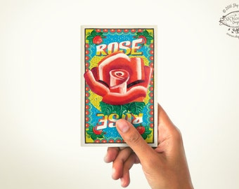 ROSE Mini Note Book   PLAIN or RULED Paper   60 Pages   Matchbox inspired Pocket Diary   Indian Pop Art Stationery Sketchbook Cultural Gift