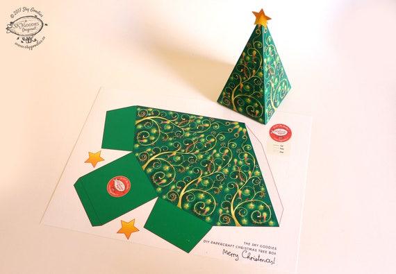 Christmas Tree Diy Printable Gift Box Party Favor Box Easy Etsy