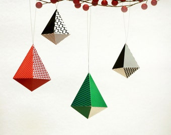 Red, Green n Black Geometric Christmas Ornaments   DIY Paper Decorations: Set of 10   Tear Drop Diamond Shape   Printables for A4 or Letter