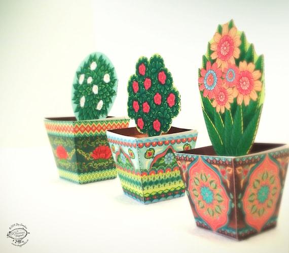 Combo saver set of 3 mini flower pots papercraft diy paper etsy image 0 mightylinksfo