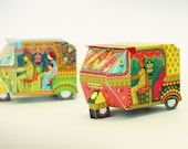 DIY Paper Toy | Bombay Auto Rickshaw Boxes: Set of 2 | Printable Papercraft Letter and A4 size template files | Instant digital pdf download