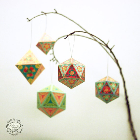 Christmas Ornaments Papercraft DIY Paper Tree Home Decor
