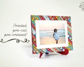 Printed Papercraft DIY Colorful Frame- Slant design | for Art or Photo | Pre-cut Pre-creased No sticking Physical Kit with Easel / Stand