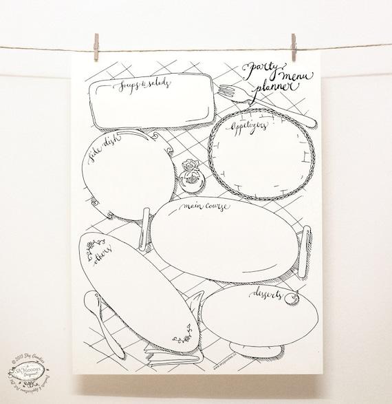 doodle party menu planner organizer printable digital etsy
