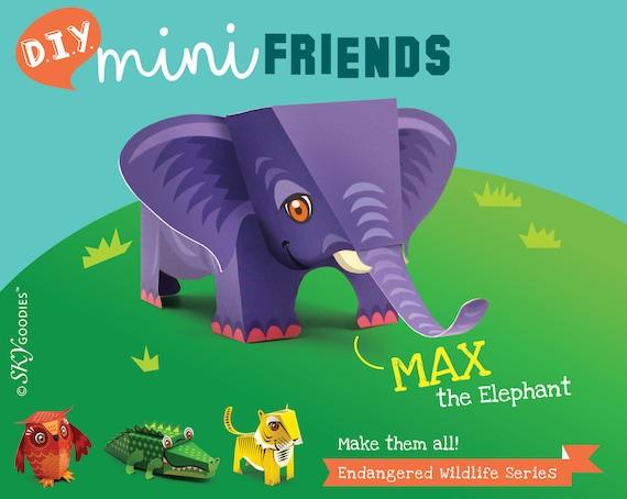 Éléphant Mini DIY imprimable papier jouet éducatif Papercraft collection | La Conservation des animaux en voie de disparition sauver la faune | pdf imprimable.