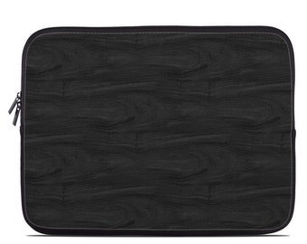 Laptop Sleeve Bag Case - Black Woodgrain - Neoprene Padded - Fits MacBooks + More