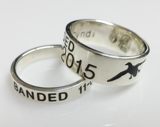 Duck Band Wedding Rings. Solid Sterling Silver Duck Band. Free priority shipping in the USA. Minimal elsewhere.