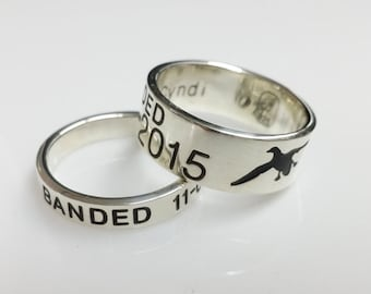 Duck Band Wedding Set - Wedding Rings - Promise Rings / Duck Band Rings / Wedding Band / Banded for Life / Dainty Ring / Personalized Ring