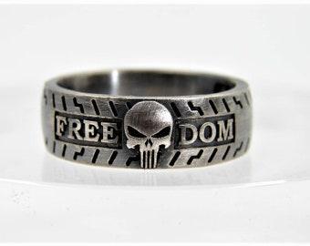 Hard Knocks Class Ring - Custom Biker Ring - Harley Davidson Biker / Badass Ring / Your Name / Skull Ring / Mens Ring / Punisher Ring