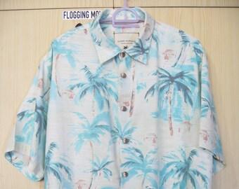 2e4a5f0c XL Silk Vintage 1990s Island Republic Hawaii Shirt Cream Surf flower Floral  Beach pinesapple Hawaii Aloha overprint Button Down blossom