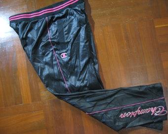 Size Womens L Vintage Champion AUTHENTIC Japan Japanese Sport Black Pink  Tracksuit Nylon Pants Jogging Warm Up Pants Track Pants Bottoms e17eca8ab