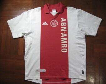 Vintage AUTHENTIC Adidas Ajax Amsterdam Holland Netherlands Eredivisie  European League Home Soccer Shirt Jersey L Camiseta 980e13dfe