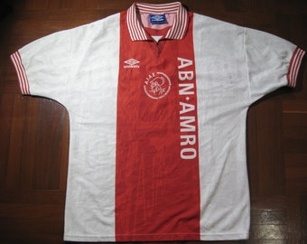 Vintage AUTHENTIC Adidas Ajax Amsterdam Holland Netherlands Eredivisie  European League Home Soccer Shirt Jersey L Camiseta 6dc401360