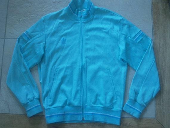 Vintage 1980s 1970s Adidas Trefoil Tracksuit top Track top Zip up Jacket Warm Up Retro Women Medium