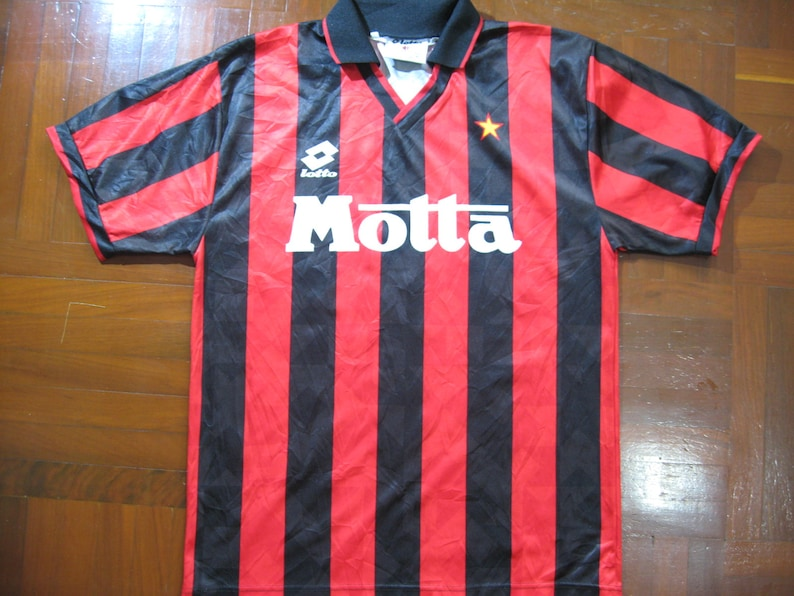 new product 7eaeb 83c45 Originals Vintage Lotto Ac Milan Italy Serie A 1993 Rare Home Kit VTG  Football Jersey Soccer Shirt Authentic 90s Size M