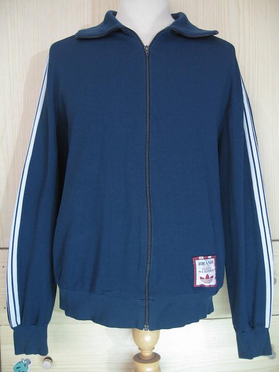 Vintage Adidas Oldschool 1980s Dark Blue Tracksuit top Warm Up Track top Zip up Jacket Retro Mens Large L Rare