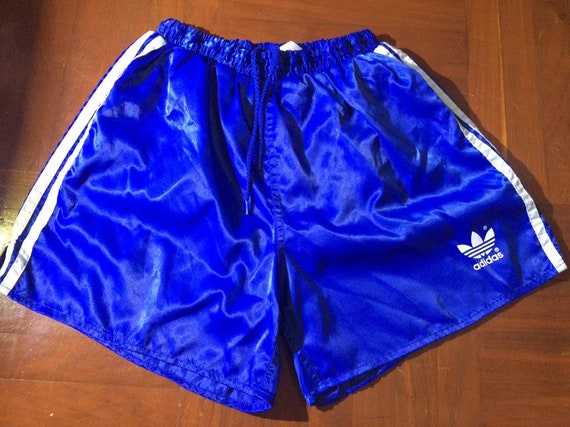 save off new appearance offer discounts Size M Vintage AUTHENTIC 1980s Adidas shiny Blue Originals Shiny Nylon  Glanz Shorts Running Soccer Sprinter Pants ATHLETICS wet look