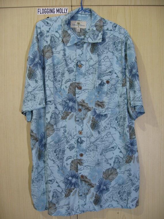 L Rayon 1990s Vintage Campia Moda Hawaiian Shirt Blue Floral Flower Short Sleeved Ocean Leaf Tree Hawaii overprint Button blossom