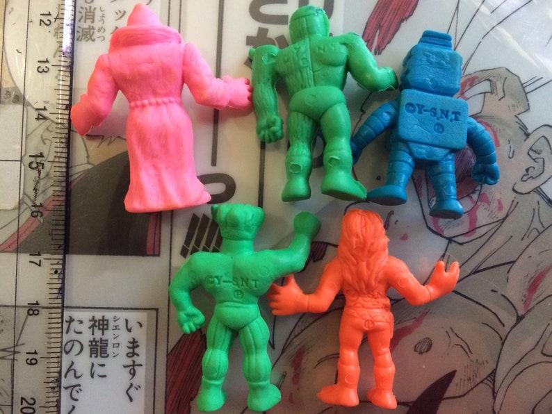 Vintage 80s Kinnikuman color micro keshi micro M.U.S.C.L.E  Kinkeshi Rubber toys muscleman muscle men Bandai Figure keshigomu set LOT of 5