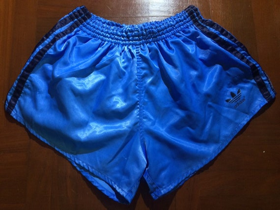 Size S Vintage AUTHENTIC 1980s Adidas shiny Blue Originals Shiny Nylon Glanz Shorts Running Soccer Sprinter Pants ATHLETICS