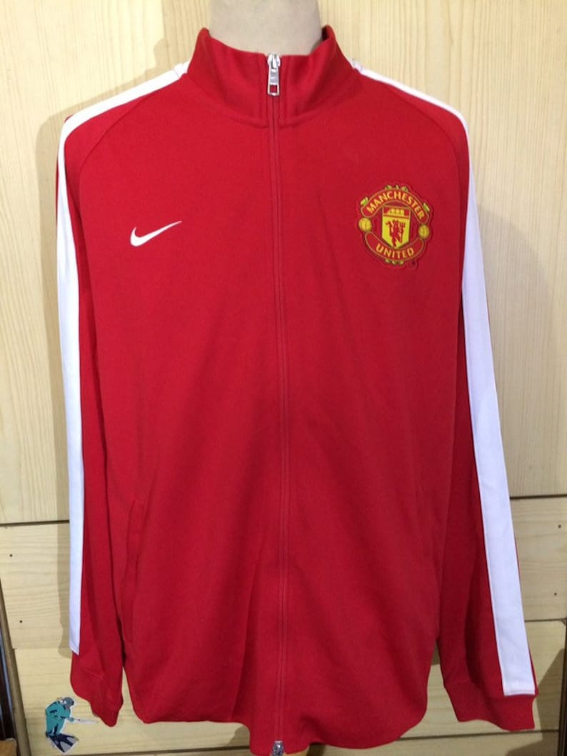 the latest dc67e 53f6b XL Vintage Nike Manchester United England Football track suit tracksuit top  track jacket sweat shirt pull over warm up full zip sweater