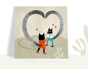 postcard for cat lovers - 'cats in love' -  greeting card - cat love postcard - hearts and love  - dancing cats - papergoods