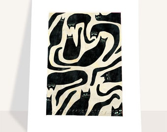 giclee print - Black cats - Illustration - cat print - catlover - black and white print - wall art - cats - cats pattern
