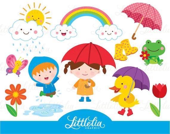 Regentag Frühling Pfütze Regenbogen Clipart 15085 Etsy