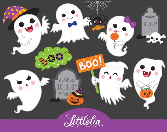 Cute ghost ghost clipart halloween clipart 16060   Etsy