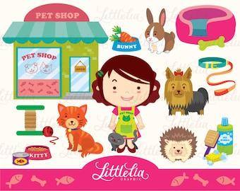 Girl's pet shop clipart set/ instant download - 14008