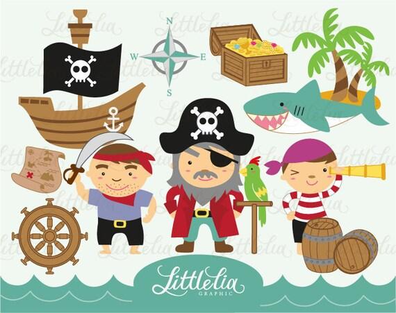 Instant Download Watercolor Pirates Digital Clip Art Set