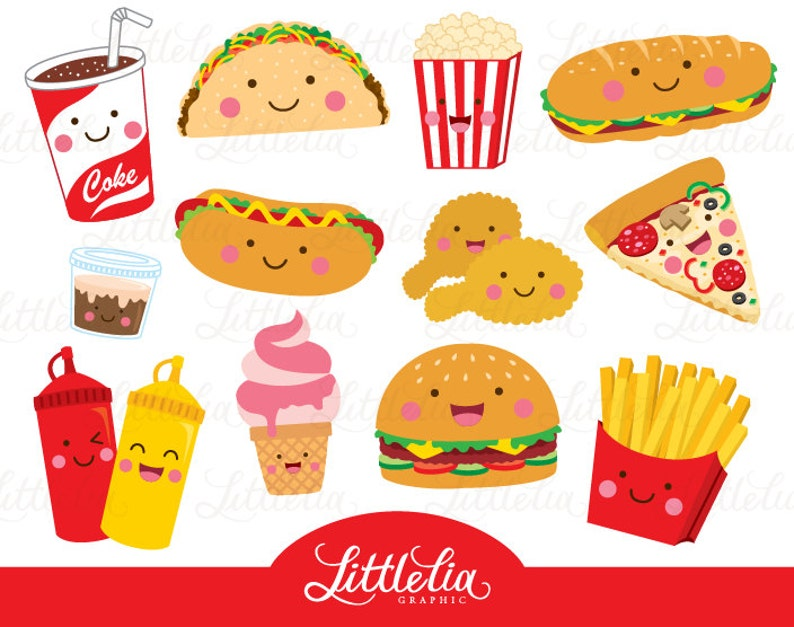 Fast food clipart food clipart cute food 15096 | Etsy