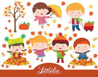 Autumn kid clipart - Autumn clipart - 16045