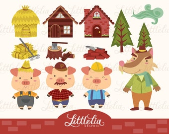 Three Little Pig Clipart set / instant download - 13009