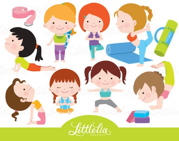 Yoga Clipart Exercise Clipart 16074 Etsy