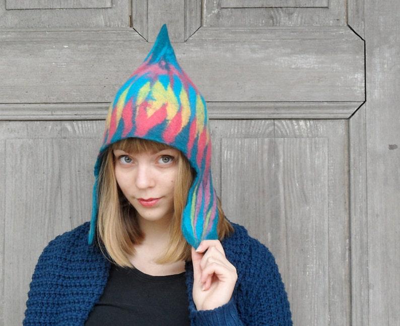 90a785d229d Unique felted hat, women men warm hat, winter fashion, fancy colorful cap  with ear flap and tip, merino wool winter cap, boho style, OOAK