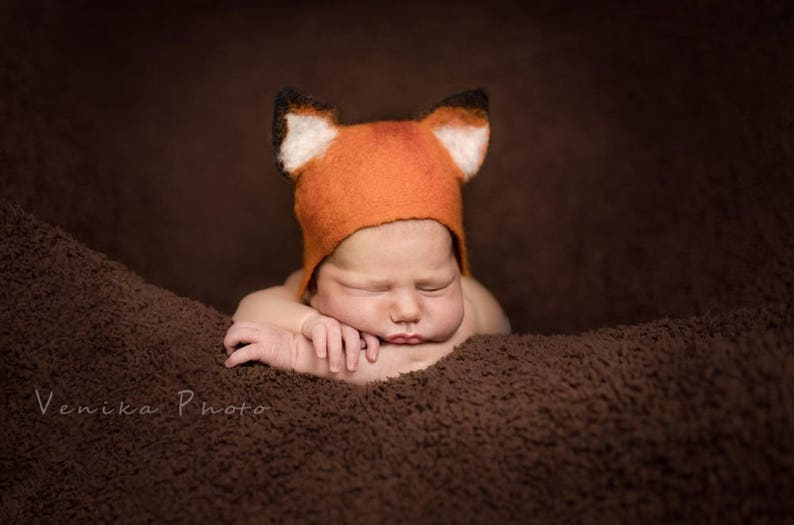 bba2fedf61a Newborn hat photography prop felted baby boy fox hat infant