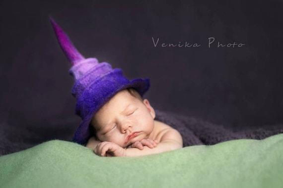 460d01148f0 Newborn pixie hat photo prop little witch hat felted infant