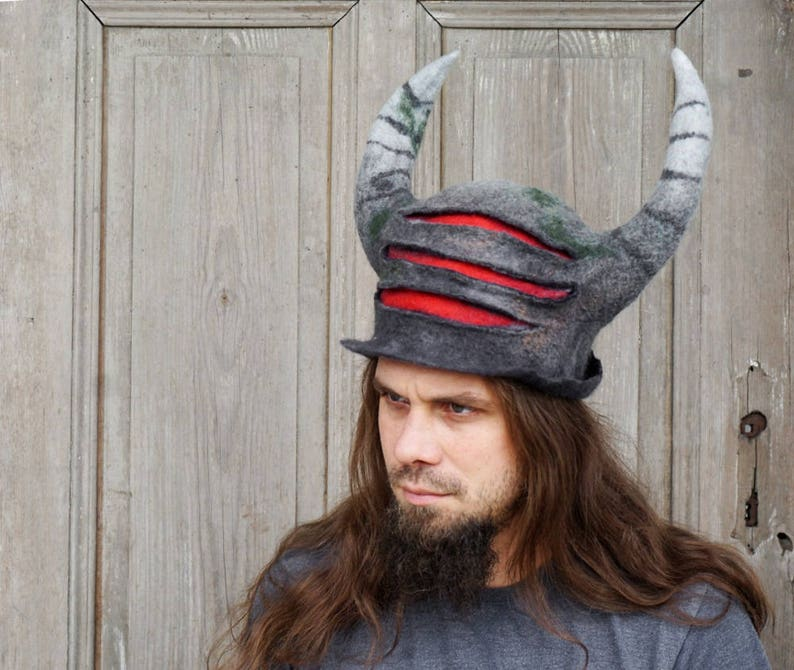 734582a87f0 Unique felted horn hat samurai viking helmet inspired