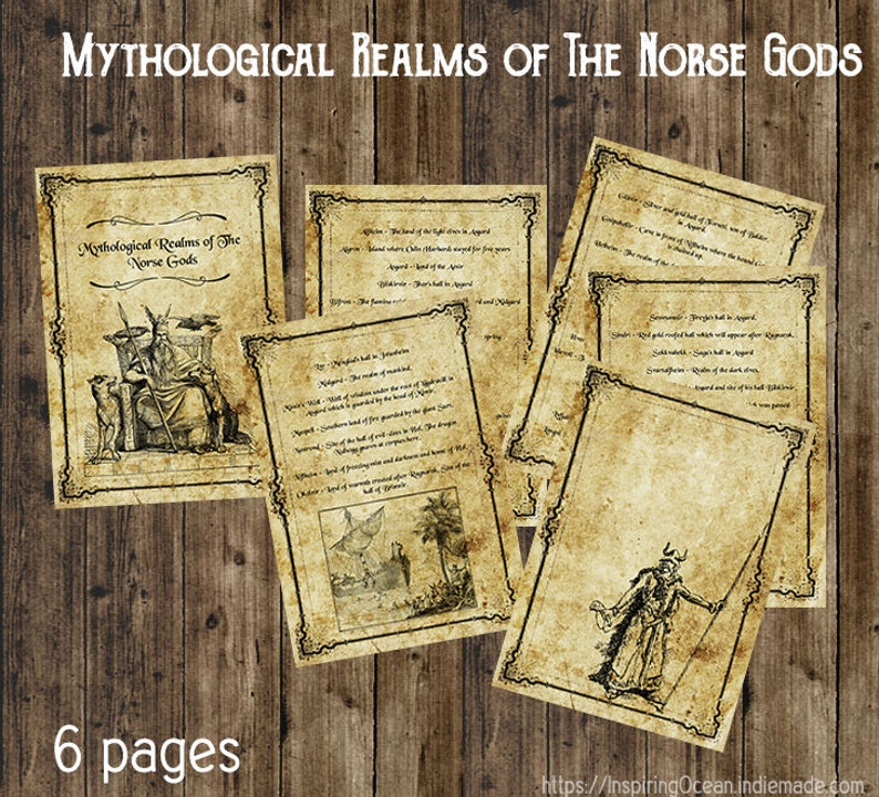 Book of shadows pages, Mythological Realms of The Norse Gods, instant  digital download