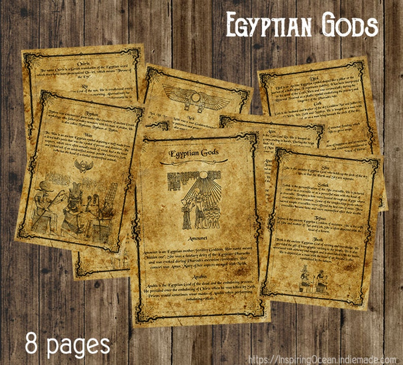 Book of shadows pages, Egyptian Gods, instant digital download