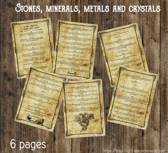 Book of shadows pages, Stones Minerals Metals and Crystals, instant digital  download