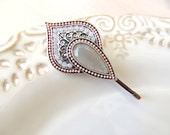 Lovely Lilac Vintage Grey Pink Hair Clip, Hair Pin, for your hair or scarf, Wig, Amazing Vintage Style Pin, Bobby Pins