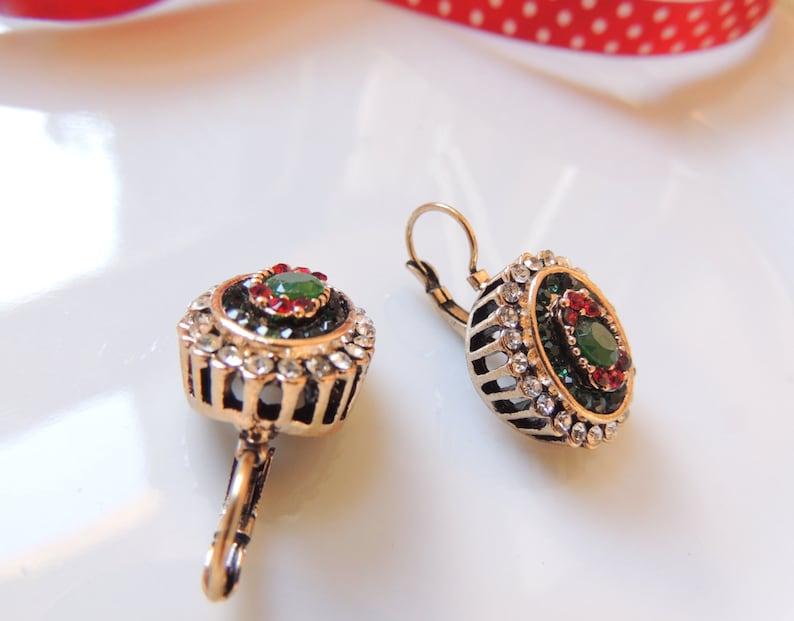 Original Vintage Antique Dangle Earrings Hanging earrings Old Style Earrings for special occasion,Green earrings,Designer Earrings,for her.