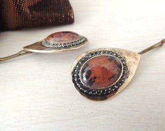 Amazing Vintage Hair Pin, Old Hair Clip, Brown Marble Stone Hairpin, Vintage Pin  Bobby Pins, Vintage Hair Clip style, Bridal Hair Clip