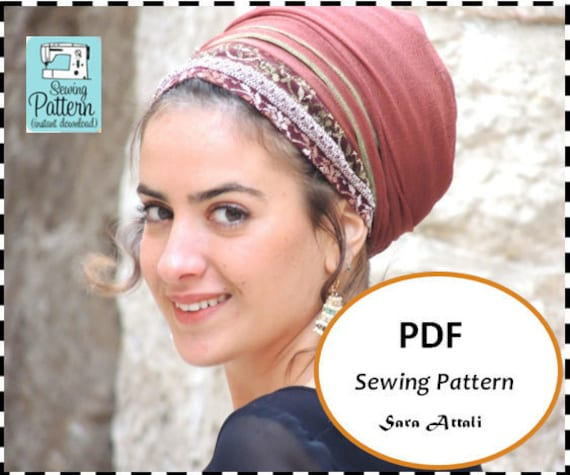 Wrap Headscarf Pattern How To Sew Your Tichel Hair Snood Head Etsy