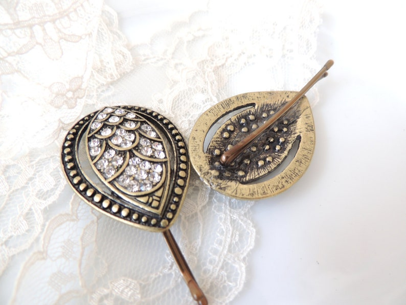 Vintage Leaf Antique Style hair pin,bridal hairpin Bronze Hair Clip Amazing Vintage Style Pin with Sparking Stones jewelry Bobby Pins