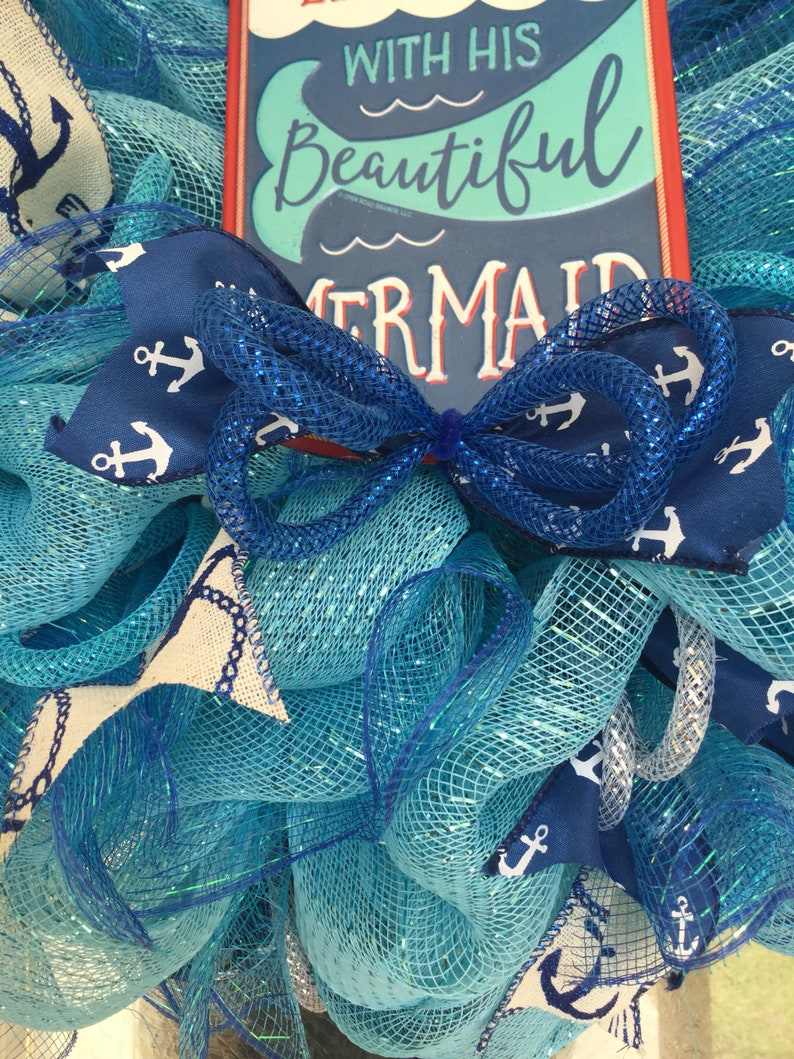 Beach Wreath Deco Mesh Wreath Beautiful Blues