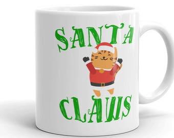 Santa Claws Cat Lovers Merry Christmas 11 oz mug Xmas Gift Idea Secret Santa Coworker Cat Mom Boss